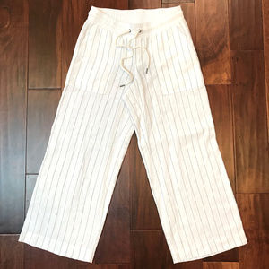 New Athleta Linen striped wide leg cropped pant